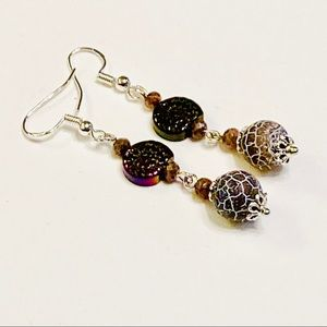 Matte Dragon's Veins Agate Titanium Shell Earrings
